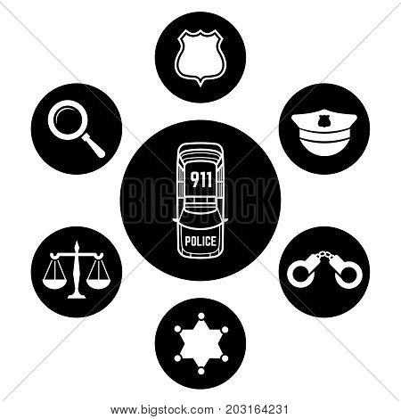 Police concept with car and accessories icons. Vector flat illustration