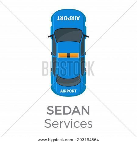 Airport service sedan top view icon. Technical support vehicle with flashlights on roof flat vector isolated on white. Emergency car illustration for urban transport concepts and infographics design