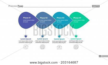 Four phase process chart slide template. Element of plan, strategy, chart. Concept for presentation, templates, annual report. Can be used for topics like business, communication, internet