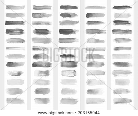 Collection of vector transparent brush strokes for imitation of watercolor drawing.