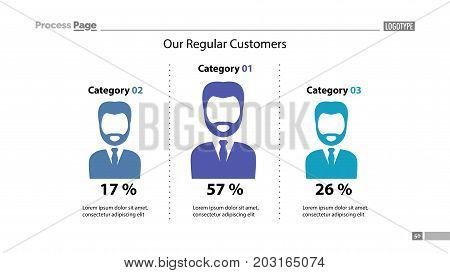 Our regular customers percentage chart slide template. Element of analysis, graph, diagram. Concept for presentation, templates, annual report. Can be used for topics like business, trade, marketing
