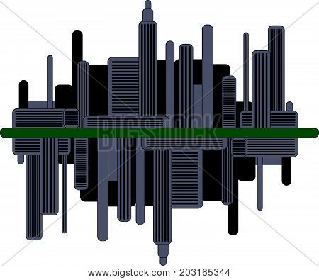 Dark futuristic city with mirror reflection. Modern busy town illustration.