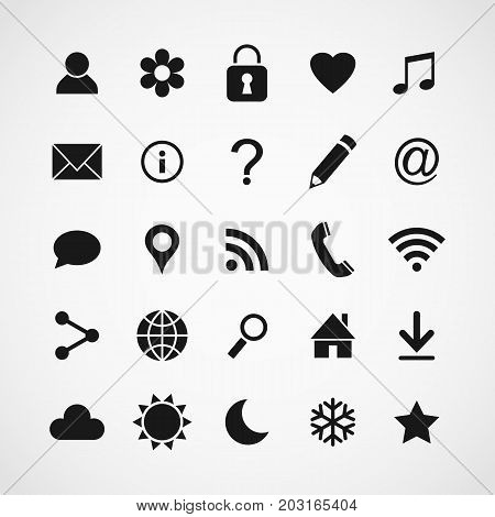 Vector set of universal web icons for media, communication, business, mobile and  meteorology. Collection of basic icons.