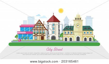 Sunny city street banner. Medieval european city hall, stone tower, fachwerk house, modern buildings and skyscraper flat vectors. Historic district. For travel company, tourist attraction web page