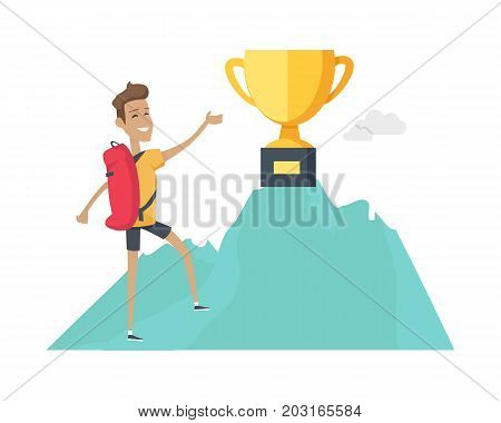 Smiling boy with red backpack climb up to top of the mountain wiht winner cup . Mountain climber. Winner trophy concept. Climbing on a cliff. Isolated vector illustration on white background