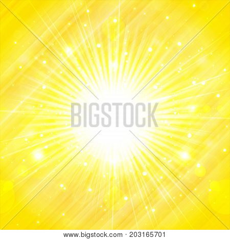 yellow orange summer sun light burst. glittering summer sun background with copy space Vector Illustration