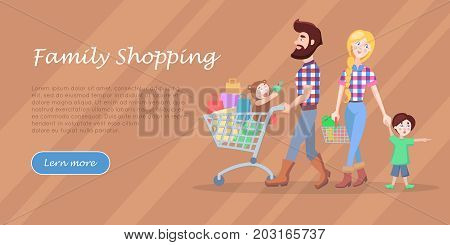 Family shopping banner. Young man and woman make purchases with kids cartoon flat vector illustration. Father and mother buying gifts on holiday sale with son and daughter