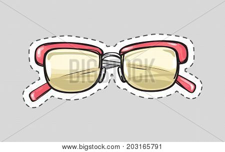 Classical glasses icon patch. Glasses isolated cut out. Unisex model, frame for man and woman. Eyeglasses with dashed line sticker. Hipster glasses. Metal framed pink glasses. Vector illustration