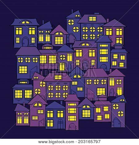 Vector illustration of silhouette of night city street on dark blue sky background. Art design for web, site, advertising, banner, poster, flyer, brochure, board, card, print