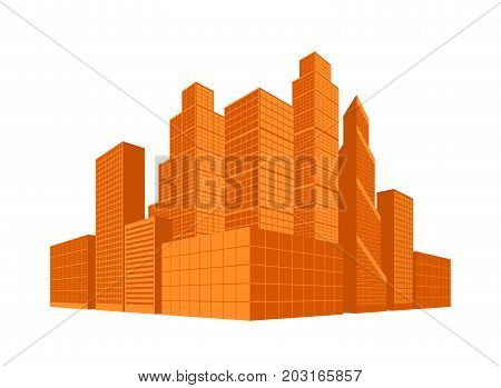 City centre. Downtown area. Business district. Skyscrapers in perspective. Buildings in sunset or sunrise colors. Vector illustration eps10.