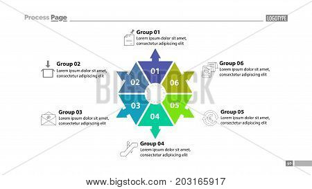 Six group process chart slide template. Element of plan, strategy, chart. Concept for presentation, templates, annual report. Can be used for topics like business, management, employment
