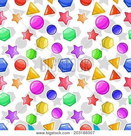 Funny Jelly figures - seamless background. Caramel geometric pattern