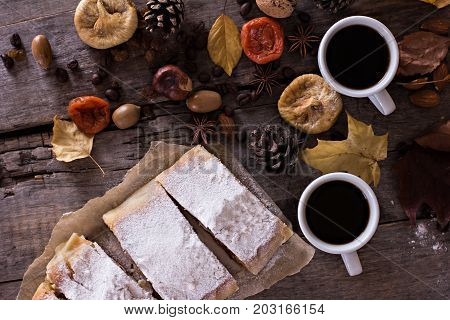 A Cup Of Coffee With Espresso, Pie And Autumn Leaves. Autumn.