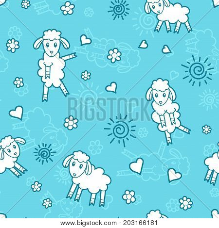 Sheeps - blue colors cartoon seamless print. Textile pajama or wrapping pattern for kids.
