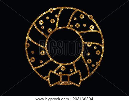 Vector Golden Glitter Christmas Door Wreath Decoration Line Icon