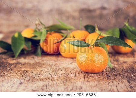 Mandarin. Many Mandarins Lie On A Wooden Table.