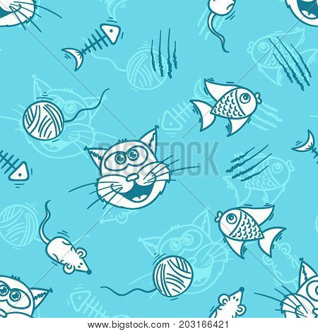 Cats toys - blue colors cartoon seamless print. Textile pajama or wrapping pattern with kittens for kids.