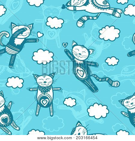 Cats in clouds - blue colors cartoon seamless print. Textile pajama or wrapping pattern with kittens for kids.