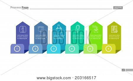 Six step process chart slide template. Element of diagram, strategy, plan. Concept for presentation, slide template, annual report. Can be used for topics like consumerism, online shopping, trade
