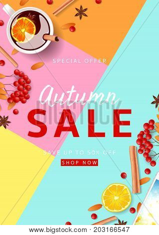 Beautiful flyer for autumn sale. Top view on composition with cup of mulled wine, rowan, cinnamon sticks on colorful background. Vector illustration.