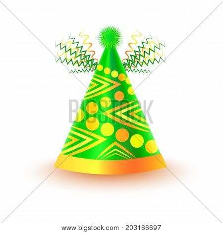 Bright festive cap with circles and triangles in yellow and green colors isolated on white background. Funny party accessory vector illustration. Holiday headgear for festive mood and having fun.