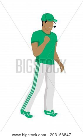 Cartoon soccer referee in green and white uniform and green hat. Speaking into lip-ribbon microphone. Main referee. Judging the competition. Flat referee football logo. Vector
