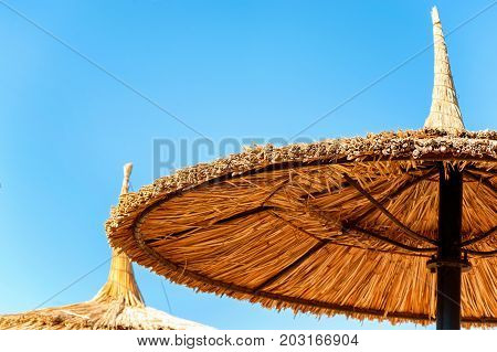 Wattled straw beach umbrellas on clear blue sky background. Outdoors summertime multi colored closeup horizontal image. View from below.