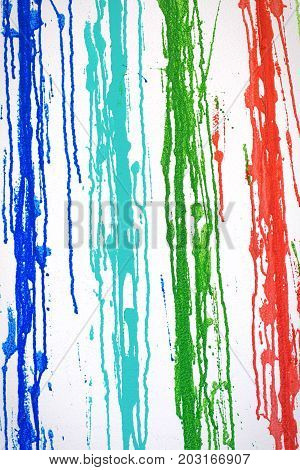 Muticolored Streaks Of Paint Leeking On White Background, Abstract Painted Stripes