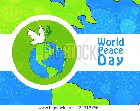 illustration of earth and pigeon with World Peace Day text on the occasion of World Peace Day
