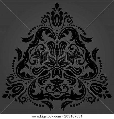 Oriental dark triangular pattern with arabesques and floral elements. Traditional classic ornament. Vintage pattern with arabesques