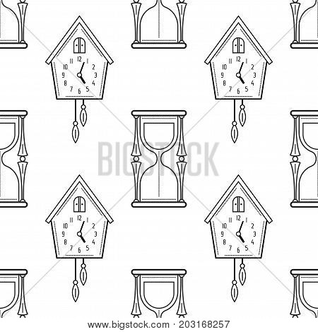 Hourglass and cuckoo clock. Black and white seamless pattern for coloring books, pages. Vector illustration.