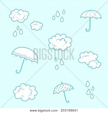 Clouds and umbrella - rainy blue colors cartoon seamless print. Textile pajama or wrapping pattern for kids.