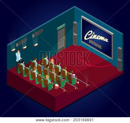 Isometric cinematography concept with people eating popcorn drinking soda and watching movie premiere in cinema vector illustration