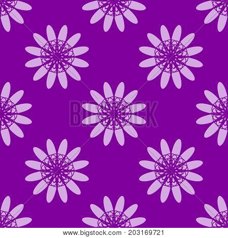 Violet floral pattern. Seamless vector background with violet flowers