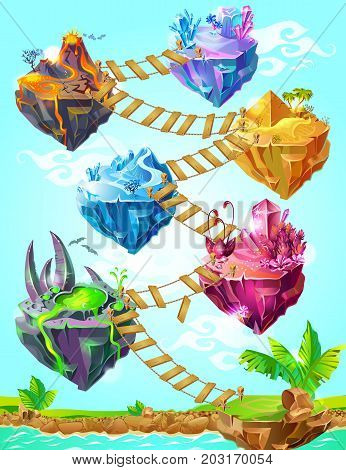 Isometric colorful game islands template with ladder between them and crystal volcano desert ice poisonous lake landscapes vector illustration
