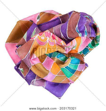 Crumpled Brown, Violet, Green Batic Silk Scarf