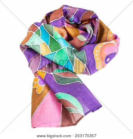 Wrapped Brown, Violet, Green Batic Silk Scarf