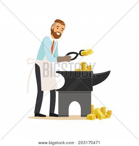 Businessman forging money on the anvil, make money concept vector Illustration on a white background