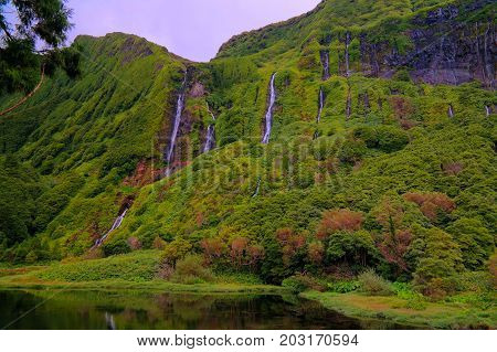 Panorama view to Faja waterfall at Flores, Azores, Portugal