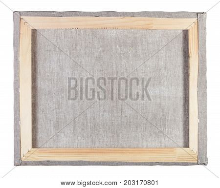 Reverse Side Of Canvas Stretched On A Wooden Frame