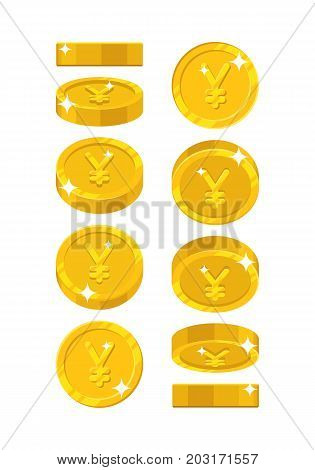 Gold Chinese yuan or Japanese yen views cartoon style isolated. The gold yuan or yen is at different angles around its axis for designers and illustrators. Rotation of a gold coin vector illustration