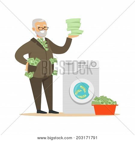 Corrupt confident mature man in a business suit washing dirty money, illegal money laundering vector Illustration on a white background