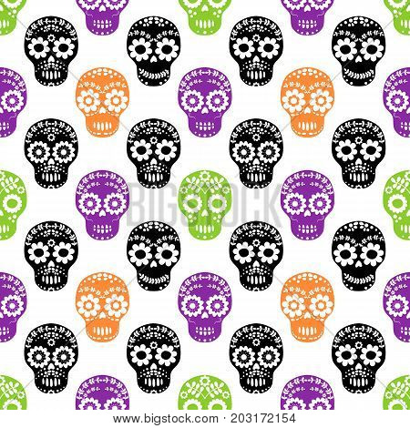 Vector seamless pattern with floral sugar skulls in black purple orange and green colors for Halloween designs