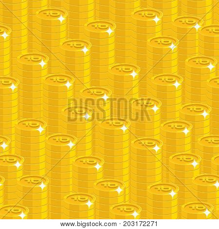 Piles gold rubles style seamless pattern. Background of piles gold rubles as a pattern for designers and illustrators. Cover of gold pieces in the form of vector illustration