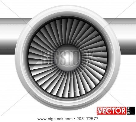 Turbines of an aircraft engine in a gondola. Front view of the compressor. Air inlet. Traced engine parts and part of the wing