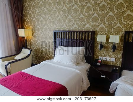 Modern Bed Room At Luxury Hotel