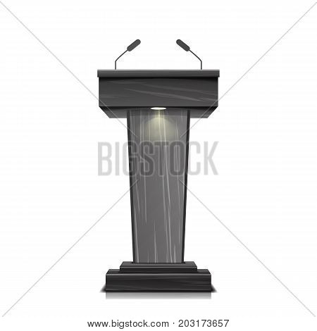 Realistic Wooden Tribune Isolated Vector. With Two Microphones. Dark Wooden Podium Stand Sign Rostrum. Illustration For The Performance Presentation
