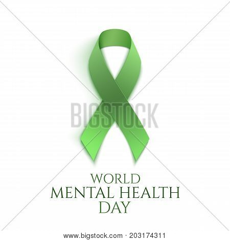 Green ribbon isolated on white. World mental health day background. Vector illustration.