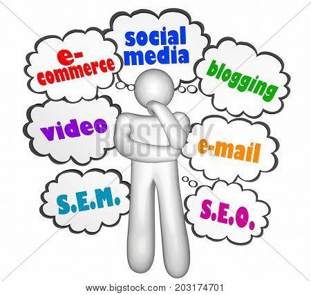 E-Commerce Social Media Blog Digital Communication Thinker 3d Illustration