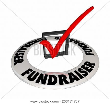 Fundraiser Check Box Mark Raise Money Non-Profit 3d Illustration